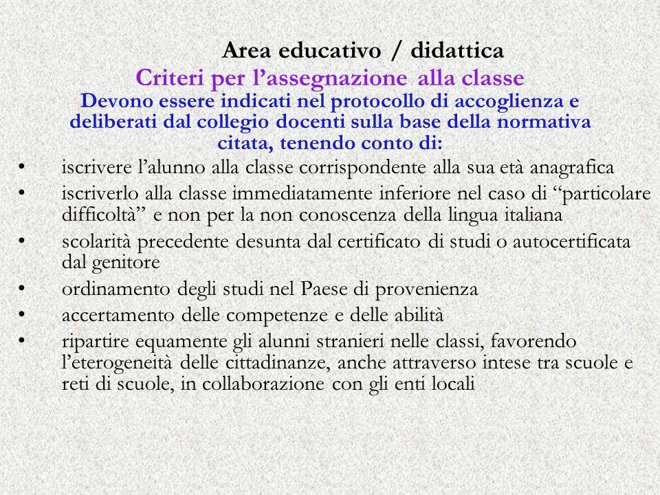 Area educativo / didattica Criteri per lassegnazione alla classe Devono essere indicati nel protocollo di accoglienza e deliberati dal collegio docent