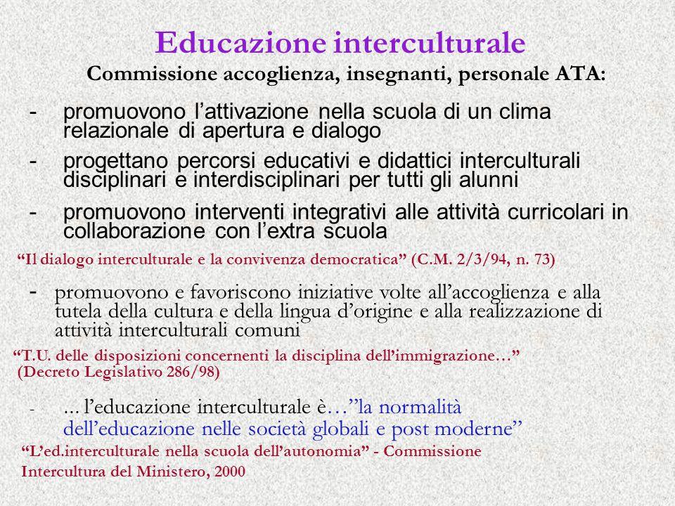 Educazione interculturale Commissione accoglienza, insegnanti, personale ATA: - promuovono e favoriscono iniziative volte allaccoglienza e alla tutela