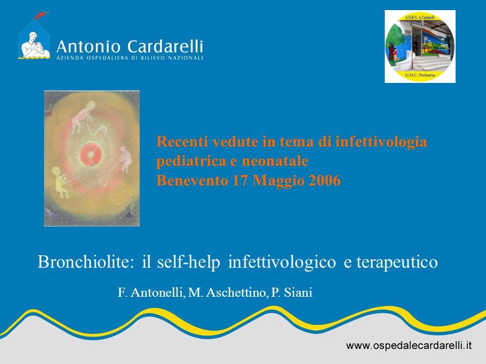 Bronchiolite: il self-help infettivologico e terapeutico Recenti vedute in tema di infettivologia pediatrica e neonatale Benevento 17 Maggio 2006 F. A