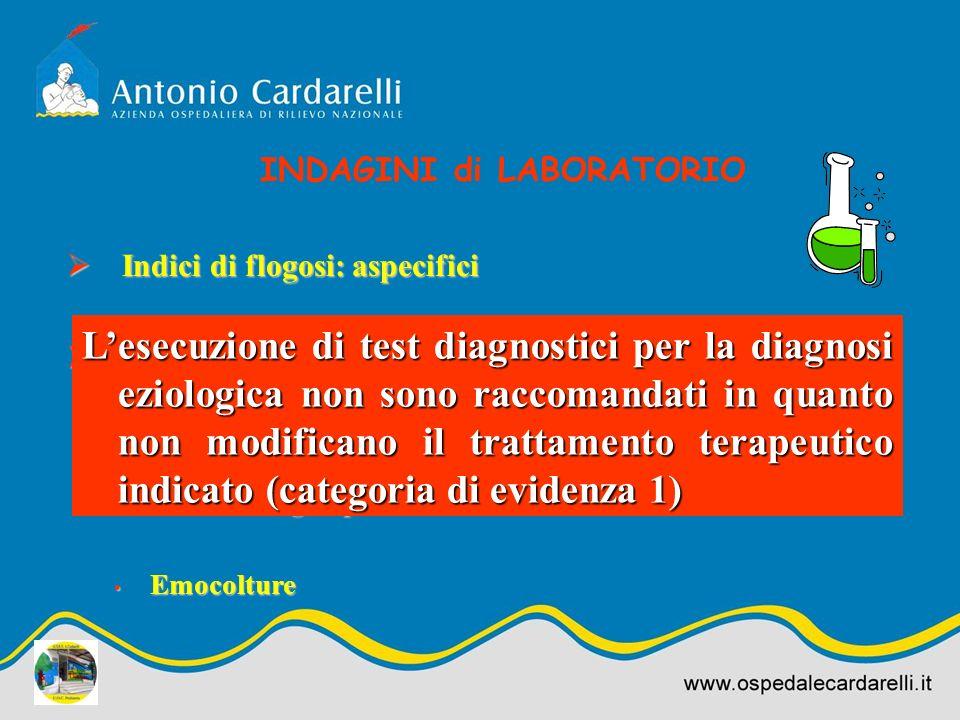 Indici di flogosi: aspecifici Indici di flogosi: aspecifici Identificazione eziologica: Identificazione eziologica: Test rapido per RSV su escreato na