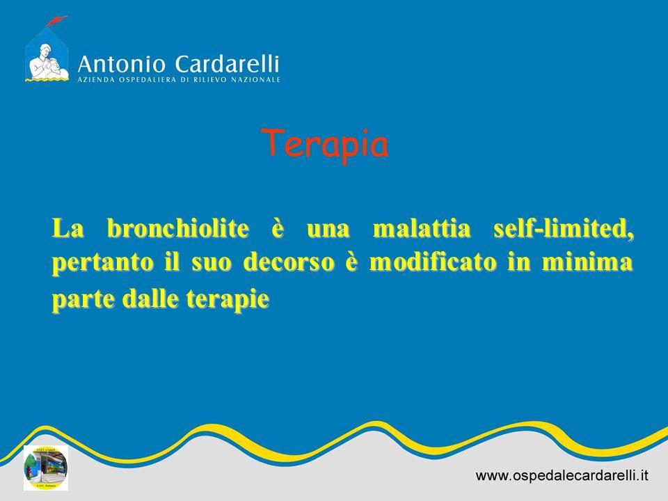 La bronchiolite è una malattia self-limited, pertanto il suo decorso è modificato in minima parte dalle terapie Terapia