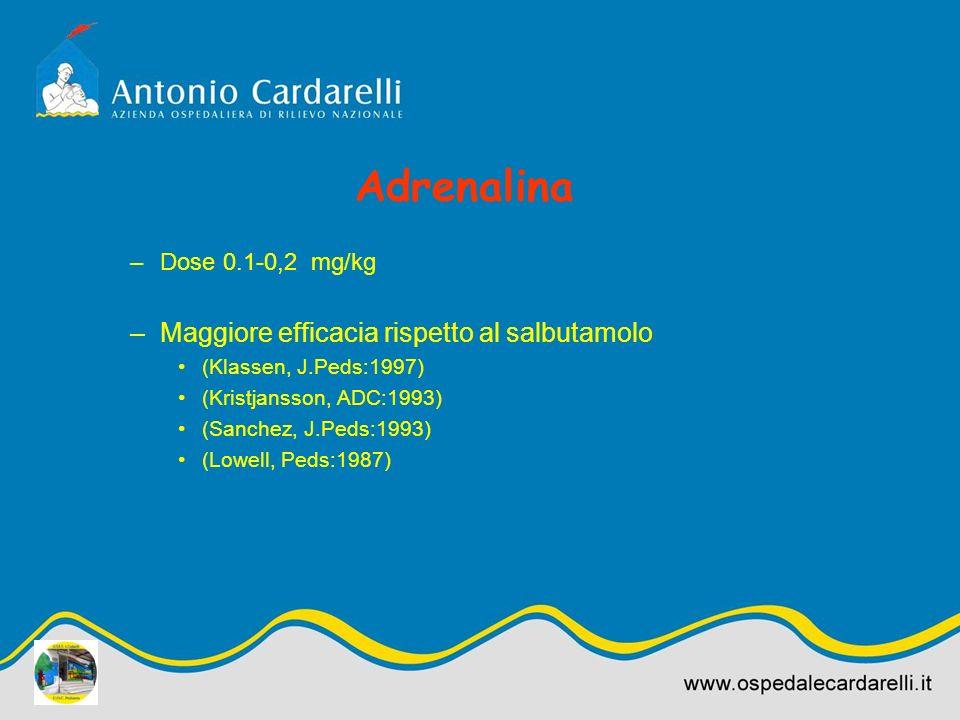 Adrenalina –Dose 0.1-0,2 mg/kg –Maggiore efficacia rispetto al salbutamolo (Klassen, J.Peds:1997) (Kristjansson, ADC:1993) (Sanchez, J.Peds:1993) (Low