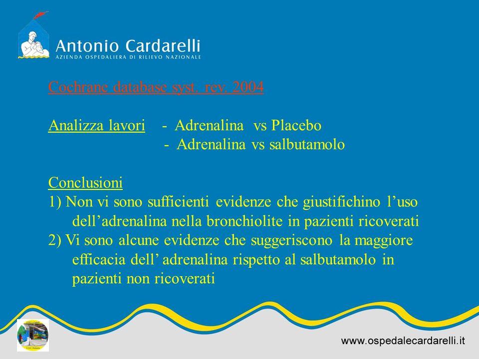 Cochrane database syst. rev. 2004 Analizza lavori - Adrenalina vs Placebo - Adrenalina vs salbutamolo Conclusioni 1) Non vi sono sufficienti evidenze