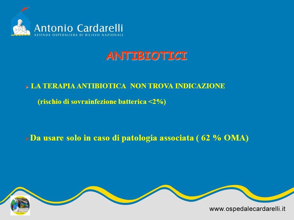 LA TERAPIA ANTIBIOTICA NON TROVA INDICAZIONE (rischio di sovrainfezione batterica <2%) Da usare solo in caso di patologia associata ( 62 % OMA) ANTIBI
