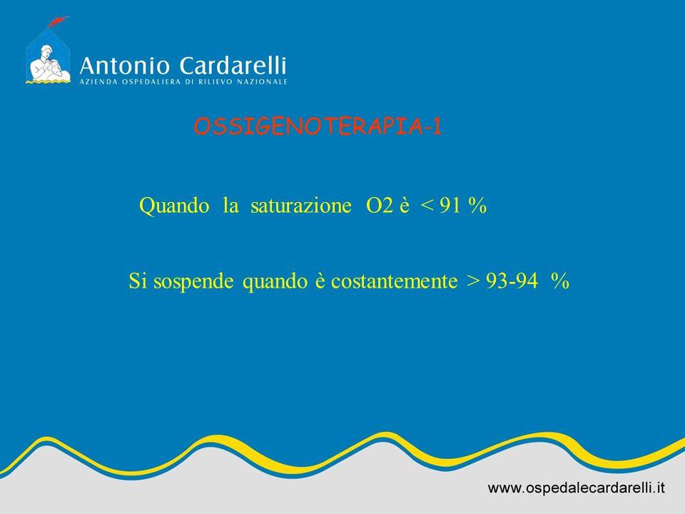 OSSIGENOTERAPIA-1 Quando la saturazione O2 è < 91 % Si sospende quando è costantemente > 93-94 %