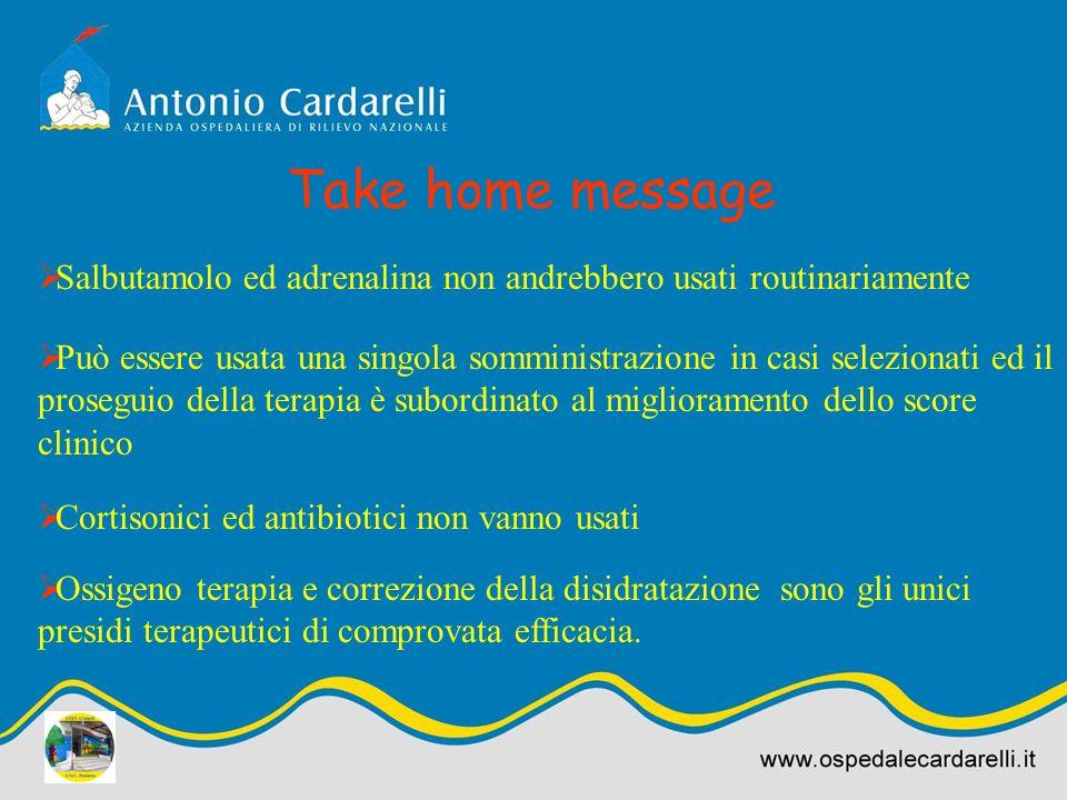 Take home message Salbutamolo ed adrenalina non andrebbero usati routinariamente Può essere usata una singola somministrazione in casi selezionati ed