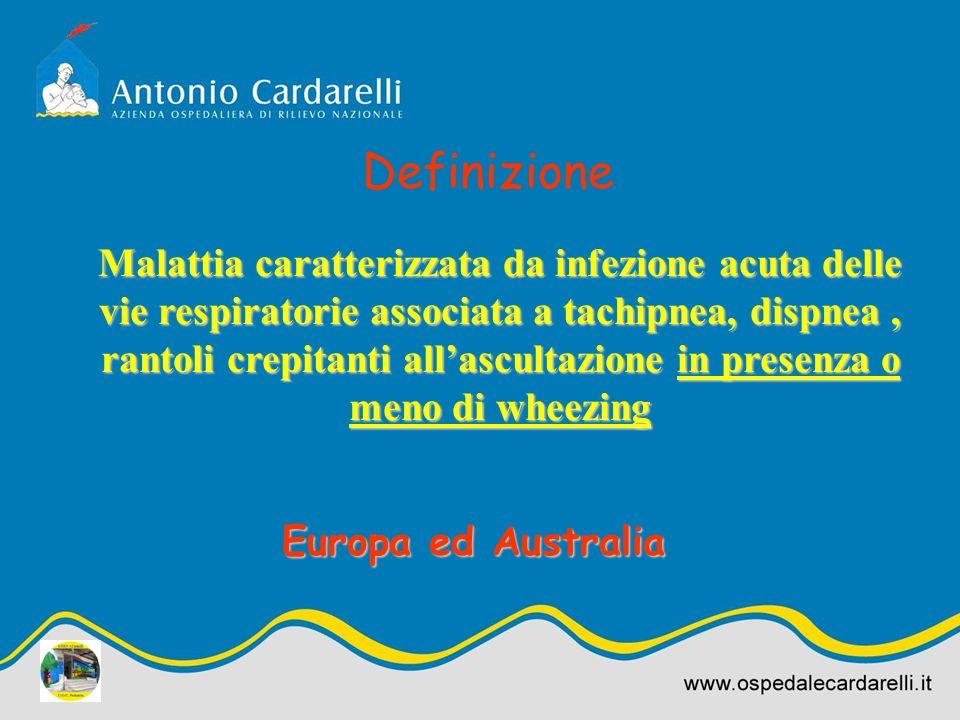 Malattia caratterizzata da infezione acuta delle vie respiratorie associata a tachipnea, dispnea, rantoli crepitanti allascultazione in presenza o men
