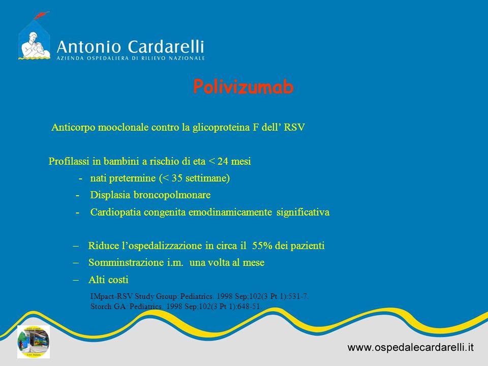 Polivizumab Anticorpo mooclonale contro la glicoproteina F dell RSV Profilassi in bambini a rischio di eta < 24 mesi - nati pretermine (< 35 settimane