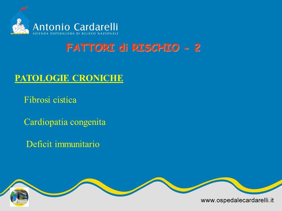 PATOLOGIE CRONICHE Fibrosi cistica Cardiopatia congenita Deficit immunitario FATTORI di RISCHIO - 2