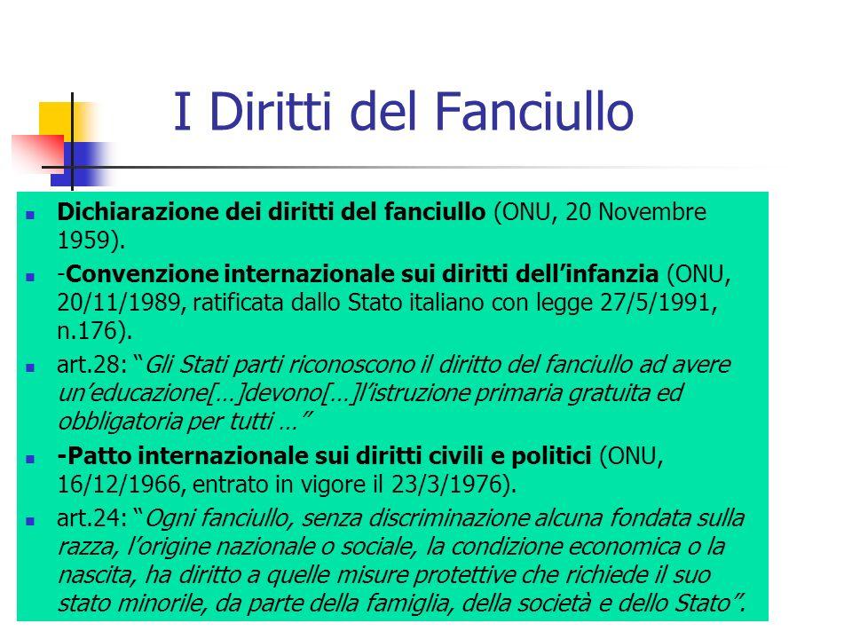 I Diritti del Fanciullo Dichiarazione dei diritti del fanciullo (ONU, 20 Novembre 1959). -Convenzione internazionale sui diritti dellinfanzia (ONU, 20