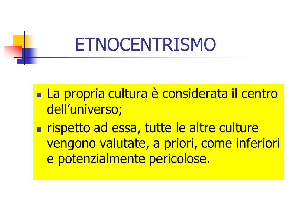 ETNOCENTRISMO La propria cultura è considerata il centro delluniverso; rispetto ad essa, tutte le altre culture vengono valutate, a priori, come infer