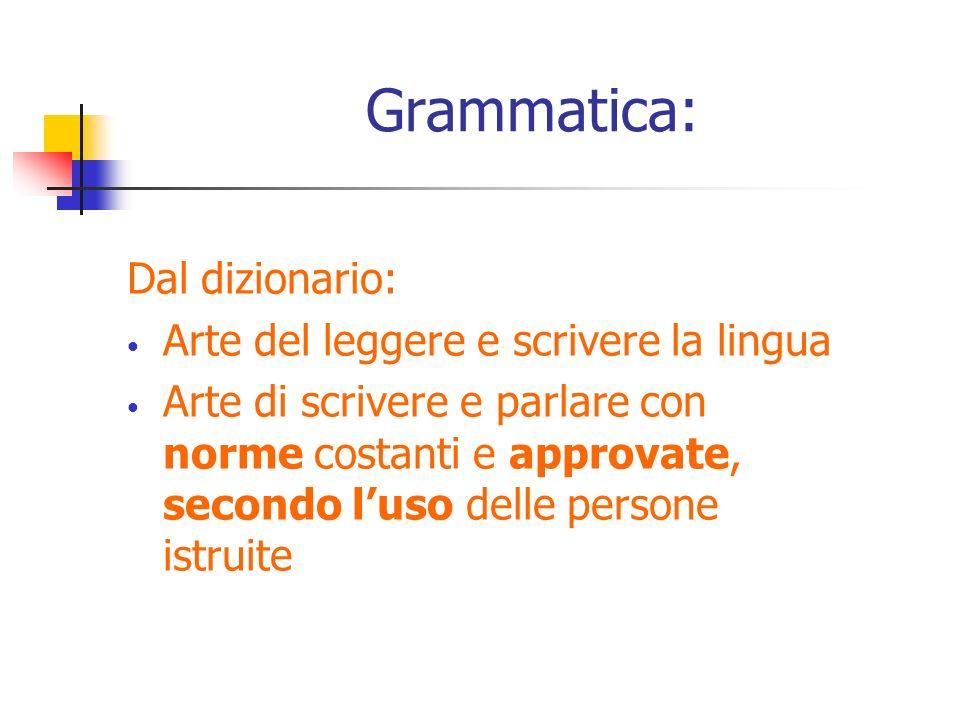 Grammatica: Dal dizionario: Arte del leggere e scrivere la lingua Arte di scrivere e parlare con norme costanti e approvate, secondo luso delle person