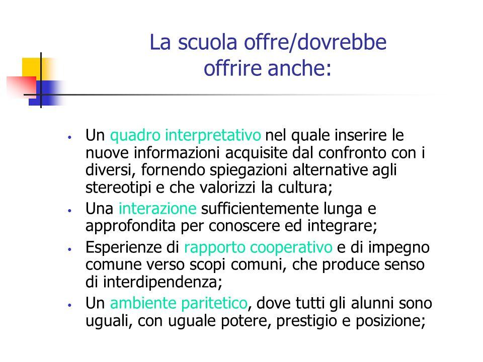 La scuola offre/dovrebbe offrire anche: Un quadro interpretativo nel quale inserire le nuove informazioni acquisite dal confronto con i diversi, forne