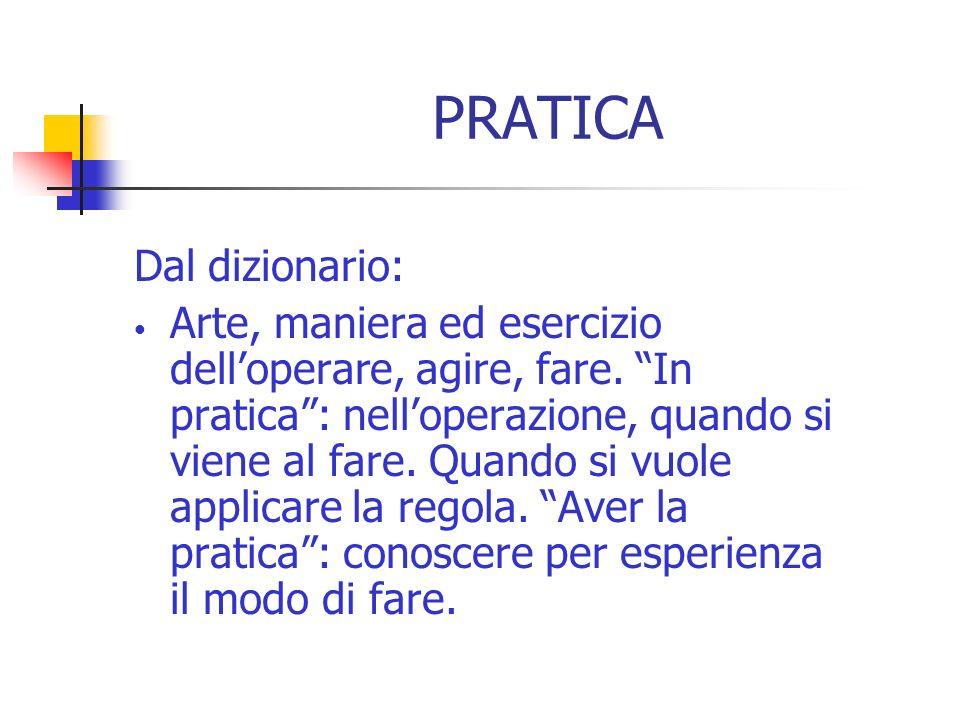 PRATICA Dal dizionario: Arte, maniera ed esercizio delloperare, agire, fare. In pratica: nelloperazione, quando si viene al fare. Quando si vuole appl