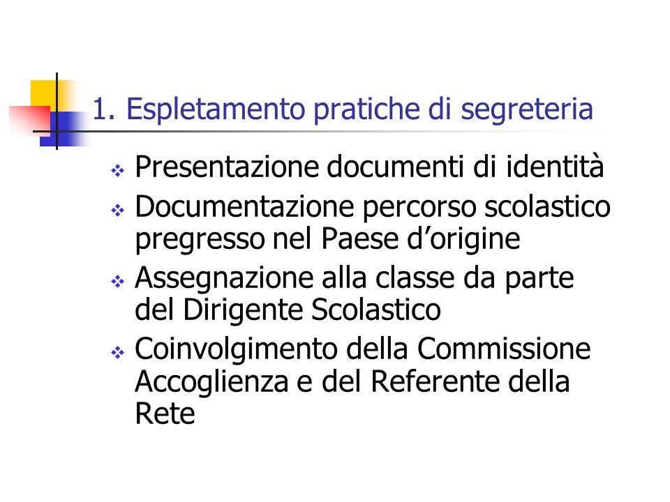 1. Espletamento pratiche di segreteria Presentazione documenti di identità Documentazione percorso scolastico pregresso nel Paese dorigine Assegnazion
