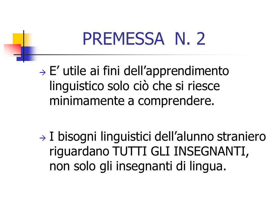 PREMESSA N. 2 E utile ai fini dellapprendimento linguistico solo ciò che si riesce minimamente a comprendere. I bisogni linguistici dellalunno stranie