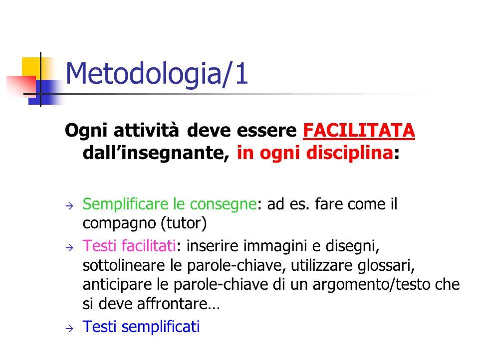 Metodologia/1 Ogni attività deve essere FACILITATA dallinsegnante, in ogni disciplina: Semplificare le consegne: ad es. fare come il compagno (tutor)