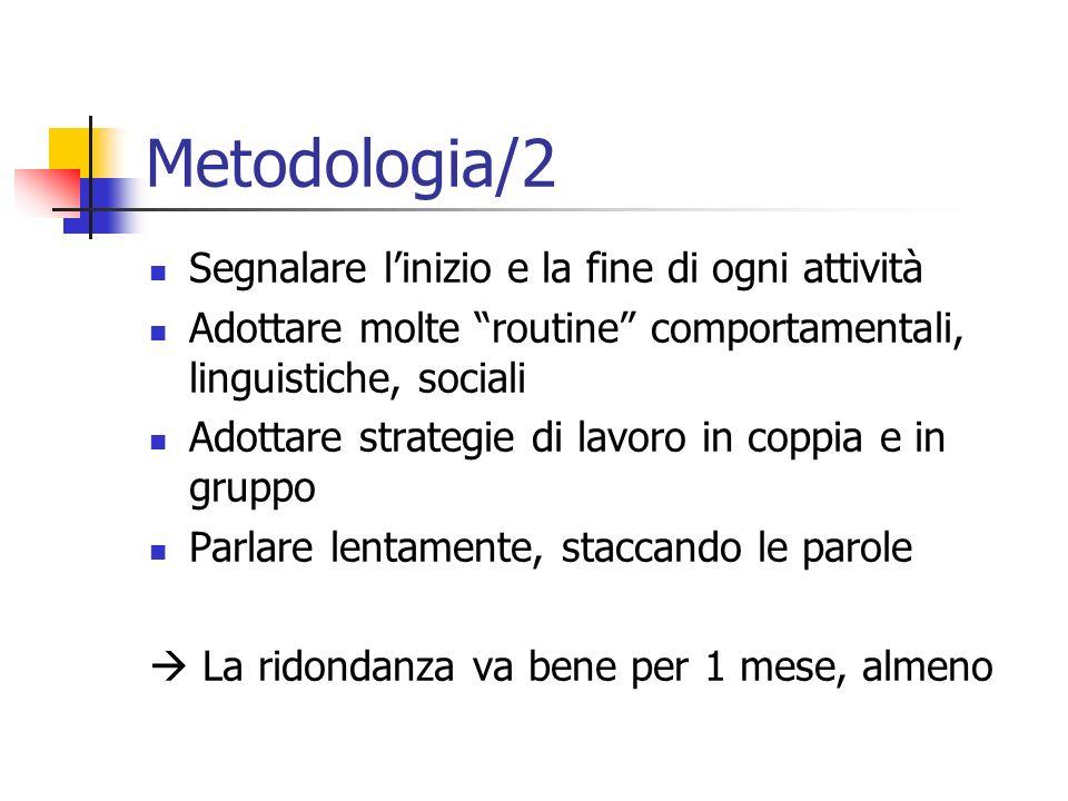 Metodologia/2 Segnalare linizio e la fine di ogni attività Adottare molte routine comportamentali, linguistiche, sociali Adottare strategie di lavoro