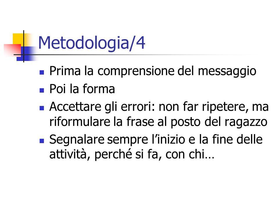 Metodologia/4 Prima la comprensione del messaggio Poi la forma Accettare gli errori: non far ripetere, ma riformulare la frase al posto del ragazzo Se