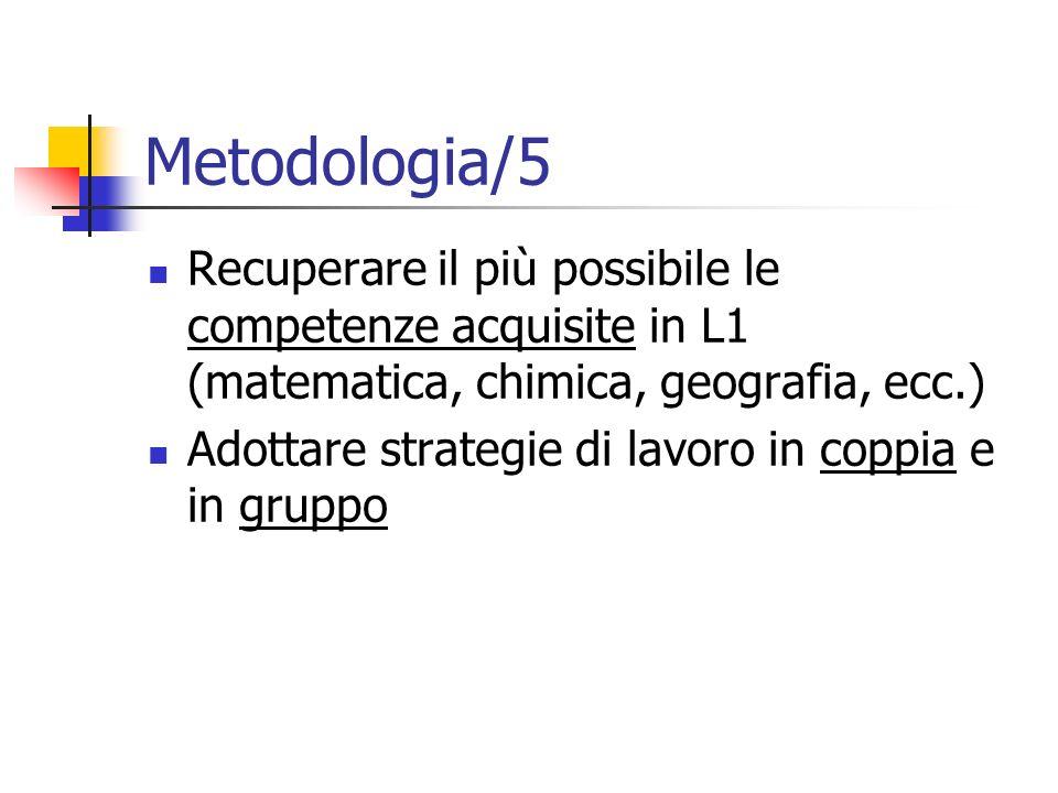 Metodologia/5 Recuperare il più possibile le competenze acquisite in L1 (matematica, chimica, geografia, ecc.) Adottare strategie di lavoro in coppia