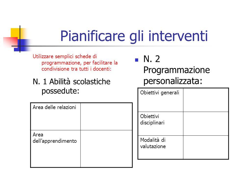 Pianificare gli interventi Utilizzare semplici schede di programmazione, per facilitare la condivisione tra tutti i docenti: N. 1 Abilità scolastiche