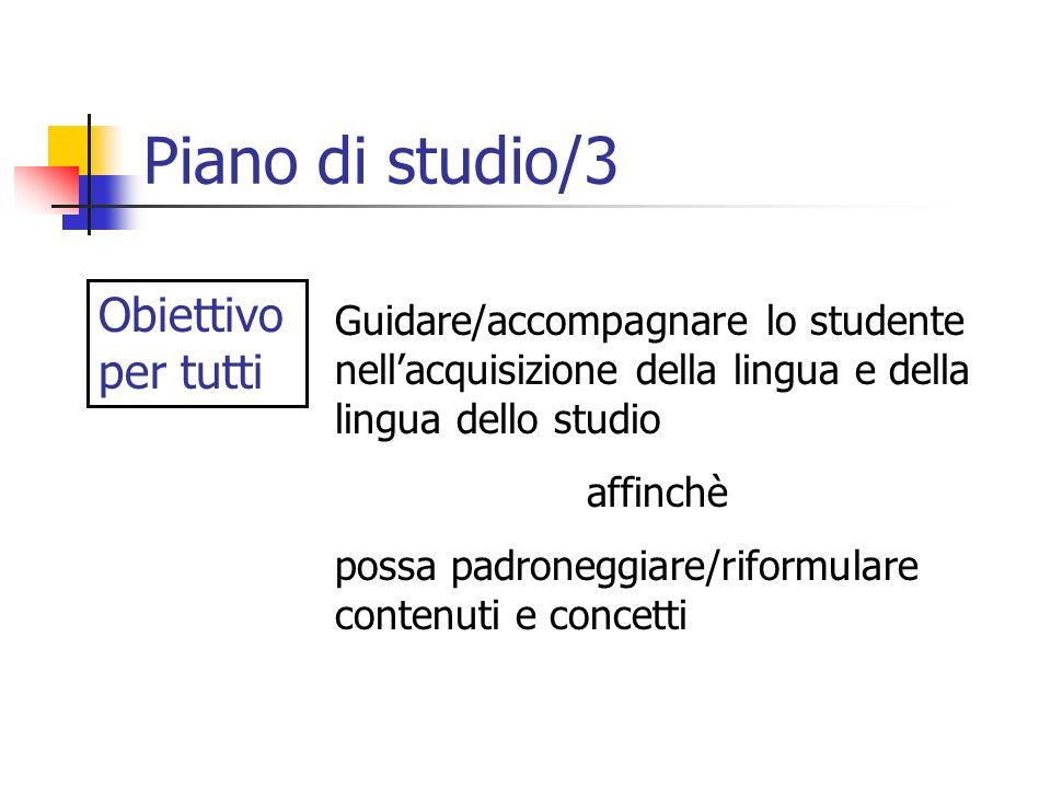 Piano di studio/3 Obiettivo per tutti Guidare/accompagnare lo studente nellacquisizione della lingua e della lingua dello studio affinchè possa padron
