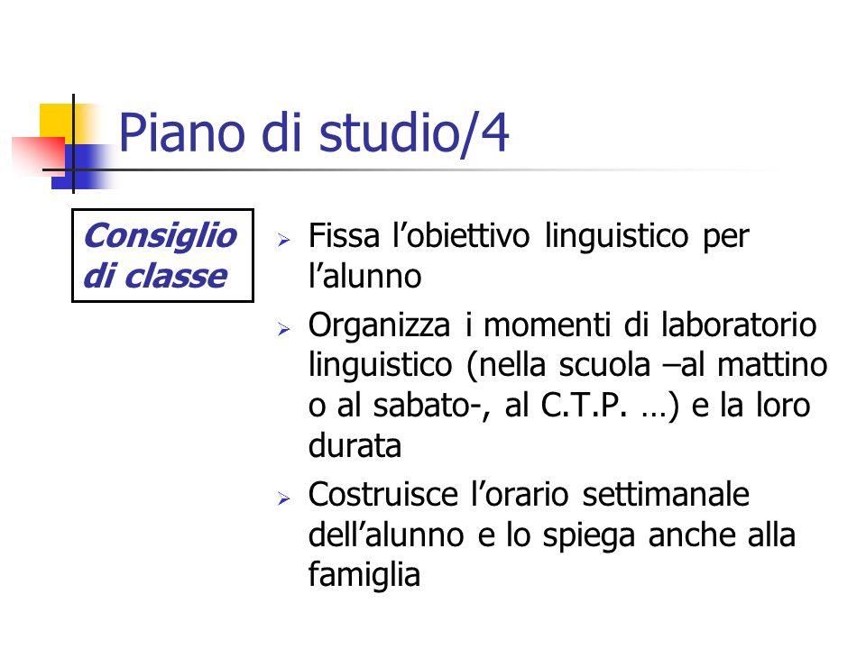 Piano di studio/4 Fissa lobiettivo linguistico per lalunno Organizza i momenti di laboratorio linguistico (nella scuola –al mattino o al sabato-, al C