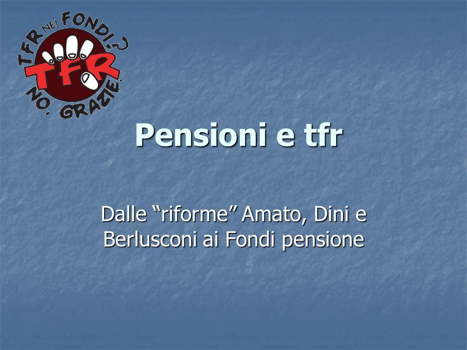 Pensioni e tfr Pensioni e tfr Dalle riforme Amato, Dini e Berlusconi ai Fondi pensione