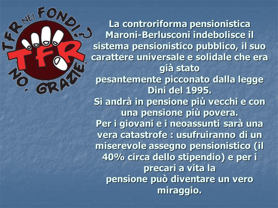 La controriforma pensionistica Maroni-Berlusconi indebolisce il sistema pensionistico pubblico, il suo carattere universale e solidale che era già sta