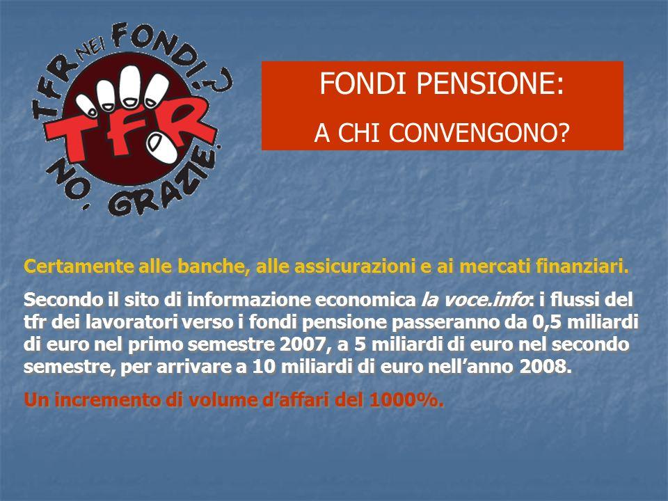 FONDI PENSIONE: A CHI CONVENGONO? Certamente alle banche, alle assicurazioni e ai mercati finanziari. Secondo il sito di informazione economica la voc