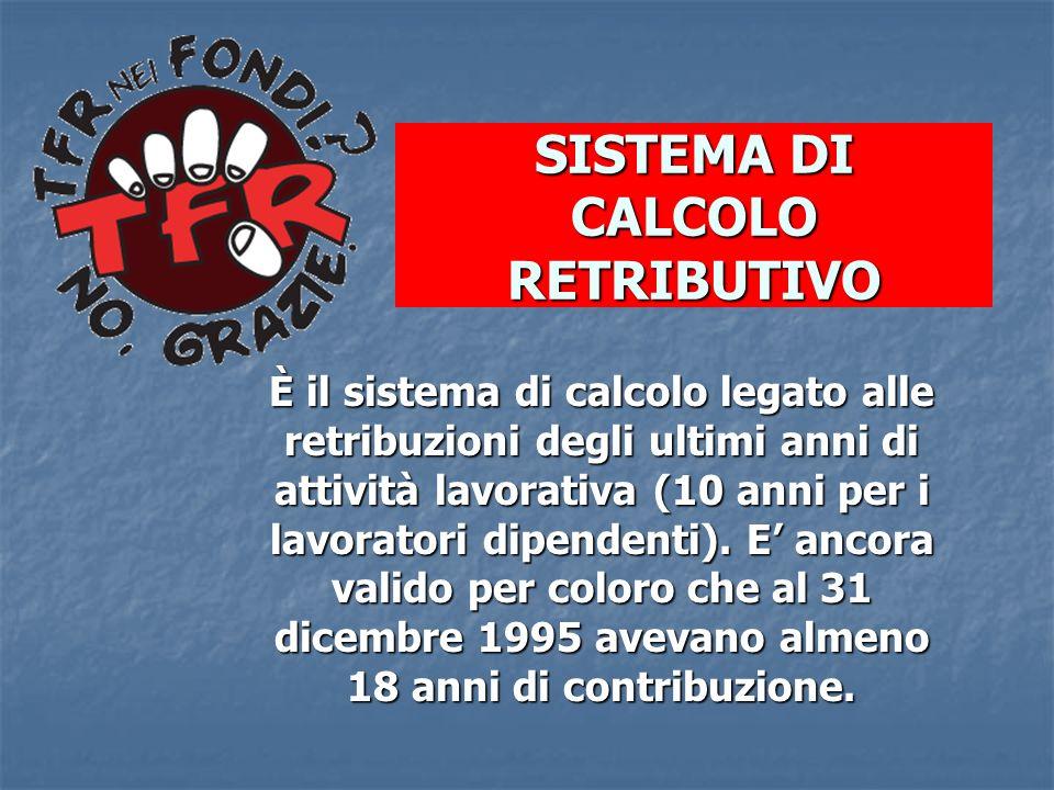 SISTEMA DI CALCOLO RETRIBUTIVO È il sistema di calcolo legato alle retribuzioni degli ultimi anni di attività lavorativa (10 anni per i lavoratori dip