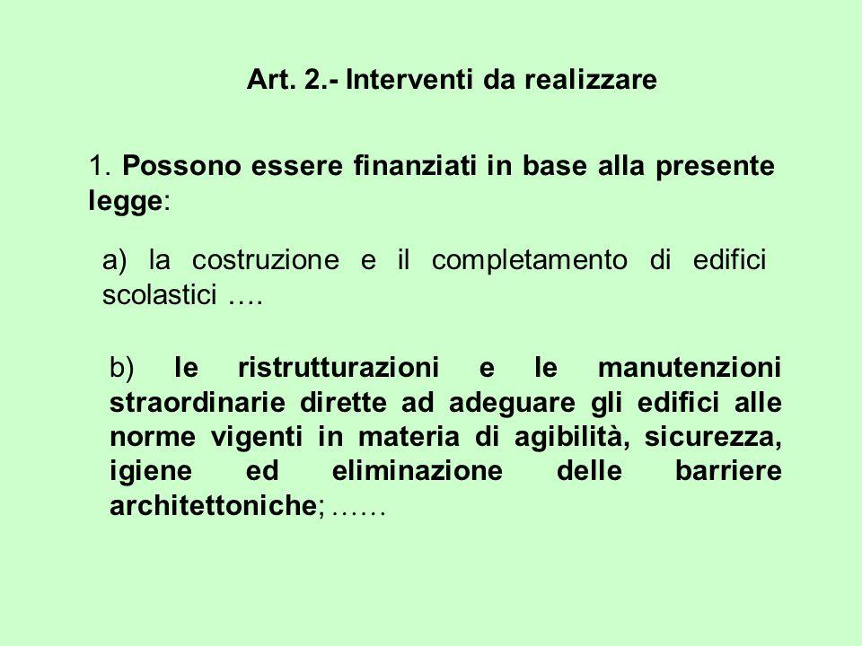 Art. 2.- Interventi da realizzare 1. Possono essere finanziati in base alla presente legge: a) la costruzione e il completamento di edifici scolastici