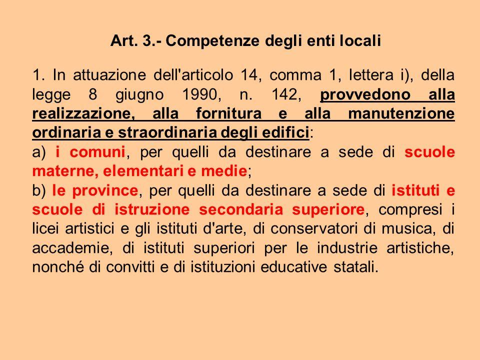 Art. 3.- Competenze degli enti locali 1. In attuazione dell'articolo 14, comma 1, lettera i), della legge 8 giugno 1990, n. 142, provvedono alla reali