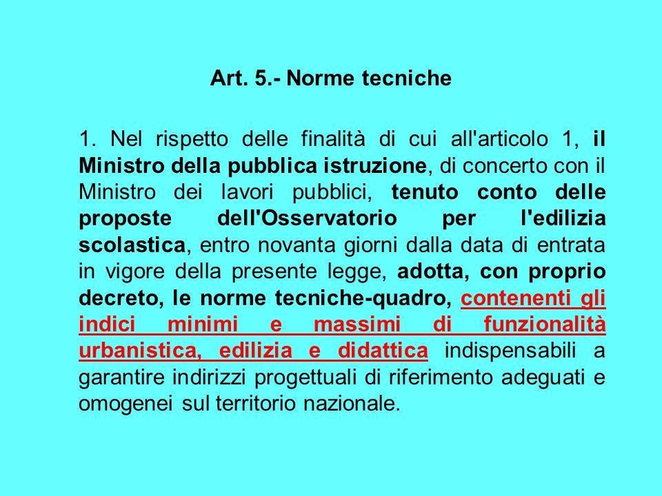 Art. 5.- Norme tecniche 1. Nel rispetto delle finalità di cui all'articolo 1, il Ministro della pubblica istruzione, di concerto con il Ministro dei l