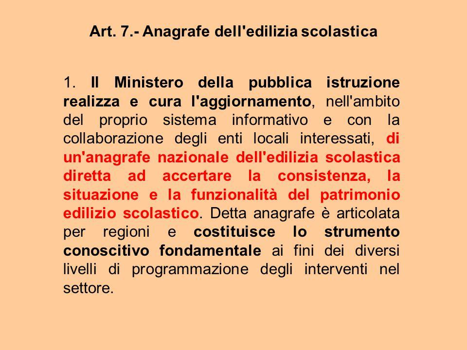 Art. 7.- Anagrafe dell'edilizia scolastica 1. Il Ministero della pubblica istruzione realizza e cura l'aggiornamento, nell'ambito del proprio sistema