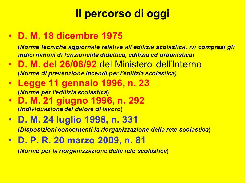 Il percorso di oggi D. M. 18 dicembre 1975 (Norme tecniche aggiornate relative all'edilizia scolastica, ivi compresi gli indici minimi di funzionalità