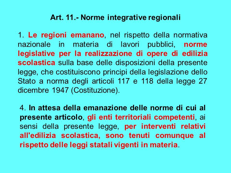 Art. 11.- Norme integrative regionali 1. Le regioni emanano, nel rispetto della normativa nazionale in materia di lavori pubblici, norme legislative p