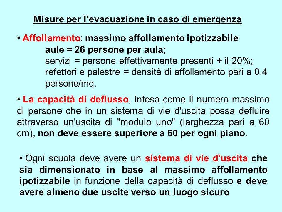 Misure per l'evacuazione in caso di emergenza Affollamento: massimo affollamento ipotizzabile aule = 26 persone per aula; servizi = persone effettivam