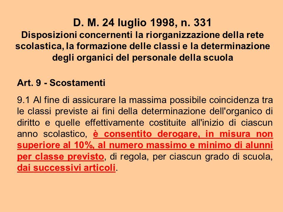D. M. 24 luglio 1998, n. 331 Disposizioni concernenti la riorganizzazione della rete scolastica, la formazione delle classi e la determinazione degli