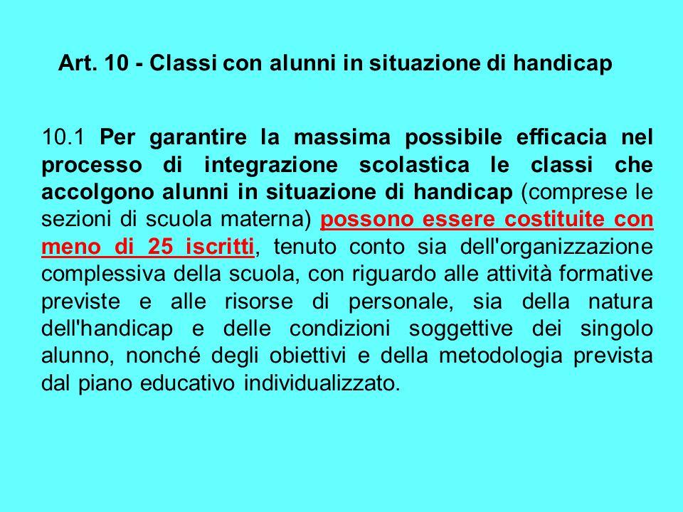 Art. 10 - Classi con alunni in situazione di handicap 10.1 Per garantire la massima possibile efficacia nel processo di integrazione scolastica le cla