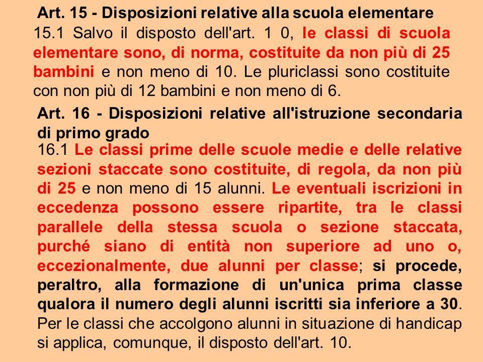 Art. 15 - Disposizioni relative alla scuola elementare 15.1 Salvo il disposto dell'art. 1 0, le classi di scuola elementare sono, di norma, costituite