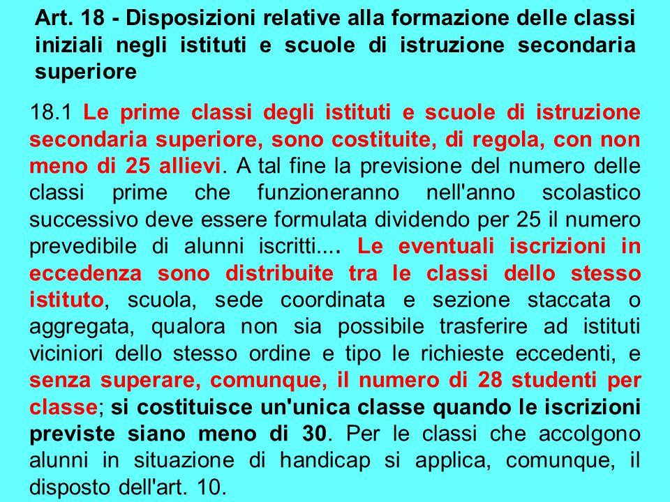 Art. 18 - Disposizioni relative alla formazione delle classi iniziali negli istituti e scuole di istruzione secondaria superiore 18.1 Le prime classi