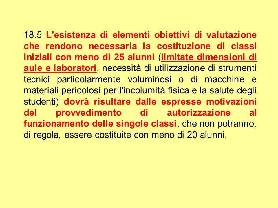 18.5 L'esistenza di elementi obiettivi di valutazione che rendono necessaria la costituzione di classi iniziali con meno di 25 alunni (limitate dimens