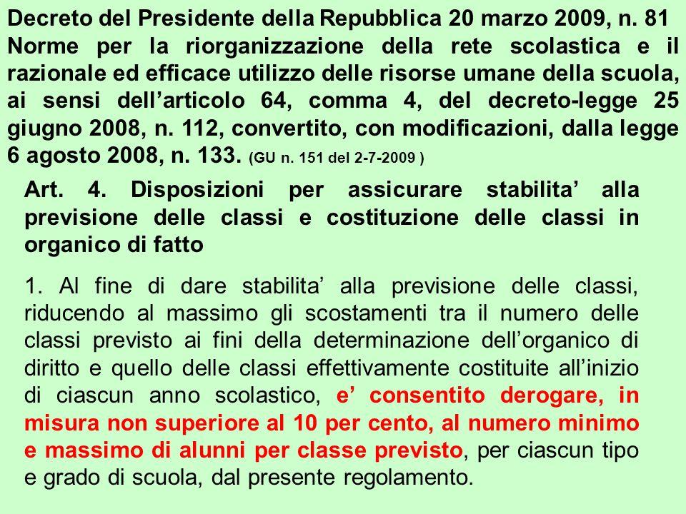 Decreto del Presidente della Repubblica 20 marzo 2009, n. 81 Norme per la riorganizzazione della rete scolastica e il razionale ed efficace utilizzo d