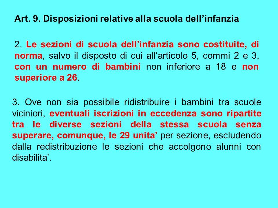Art. 9. Disposizioni relative alla scuola dellinfanzia 2. Le sezioni di scuola dellinfanzia sono costituite, di norma, salvo il disposto di cui allart