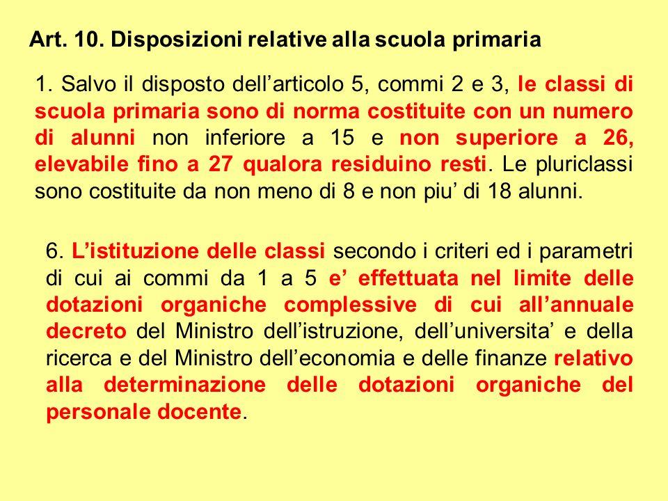 Art. 10. Disposizioni relative alla scuola primaria 1. Salvo il disposto dellarticolo 5, commi 2 e 3, le classi di scuola primaria sono di norma costi