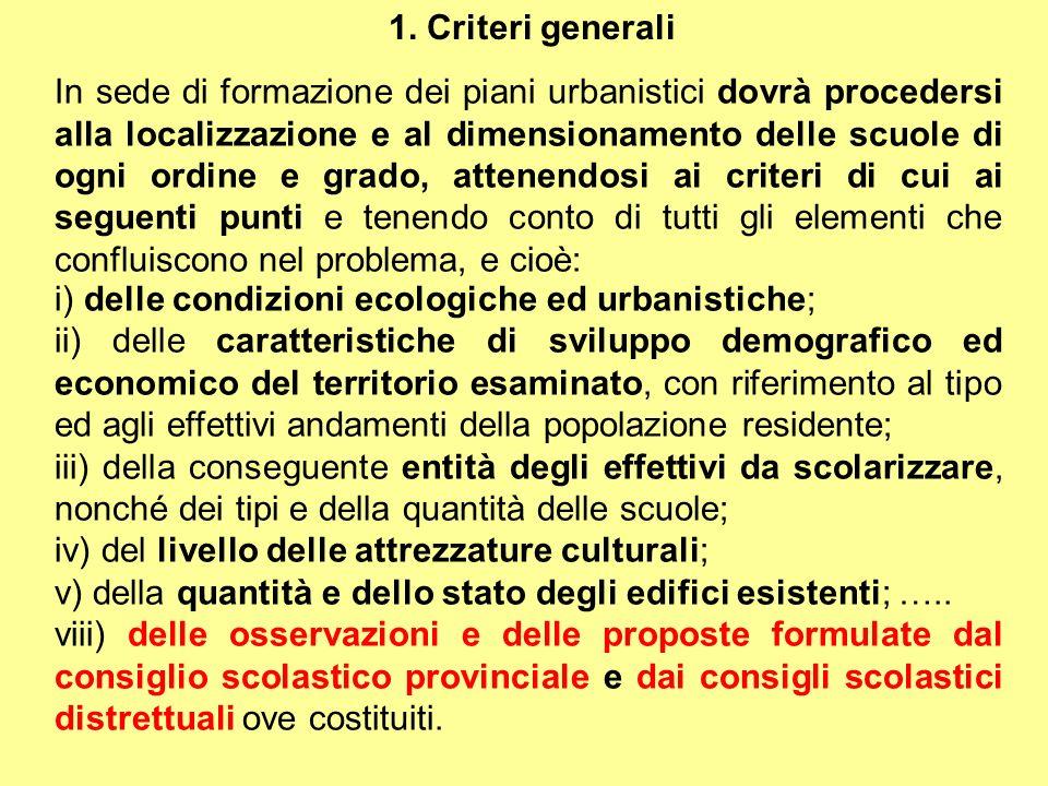 1. Criteri generali In sede di formazione dei piani urbanistici dovrà procedersi alla localizzazione e al dimensionamento delle scuole di ogni ordine
