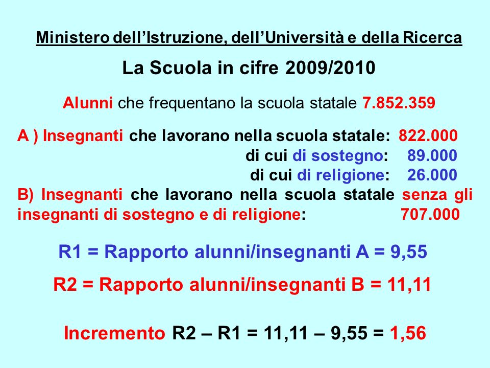 Ministero dellIstruzione, dellUniversità e della Ricerca La Scuola in cifre 2009/2010 Alunni che frequentano la scuola statale 7.852.359 A ) Insegnant