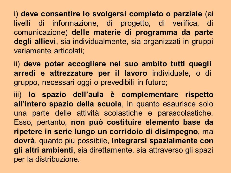 i) deve consentire lo svolgersi completo o parziale (ai livelli di informazione, di progetto, di verifica, di comunicazione) delle materie di programm