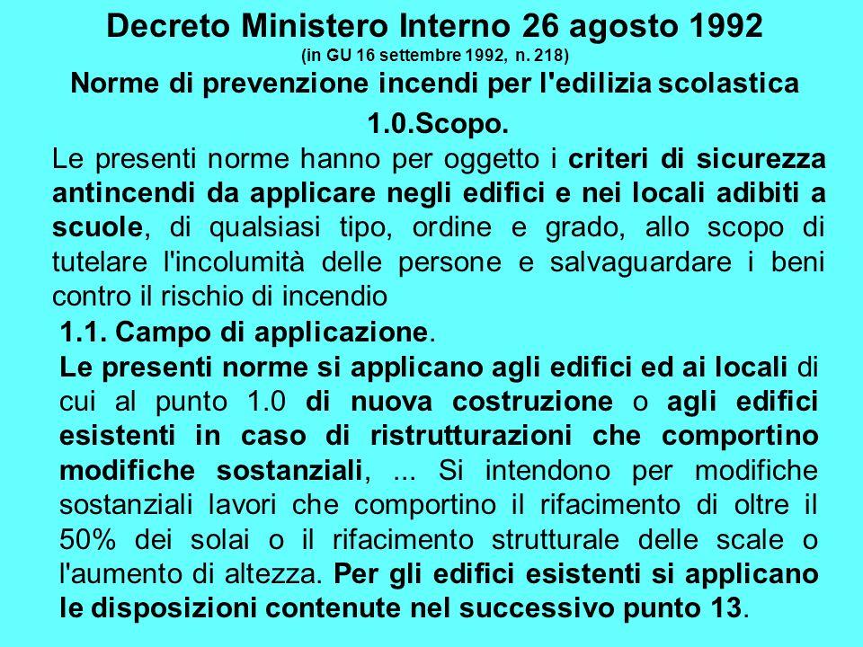 Decreto Ministero Interno 26 agosto 1992 (in GU 16 settembre 1992, n. 218) Norme di prevenzione incendi per l'edilizia scolastica 1.0.Scopo. Le presen